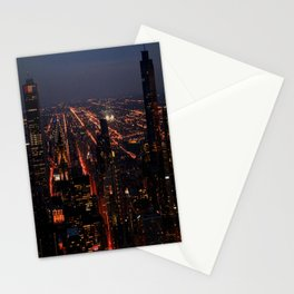 Chicago Night Lights/Hancock Tower View #1 (Chicago Architecture Collection) Stationery Cards