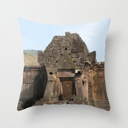 Khmer Temple Facade and Doorway, Champasak Khmer temple complex, Laos Throw Pillow