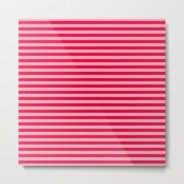 Retro, Beach, Colorful Stripes, Pink and Red Metal Print