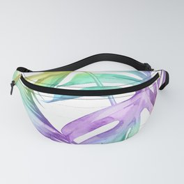 Tropical Rainbow Palm Leaves on Wood Fanny Pack
