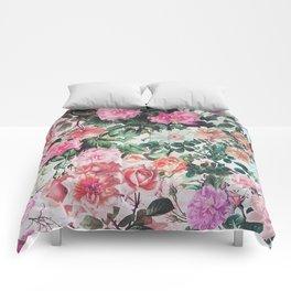 Vintage green pink lavender country floral Comforters