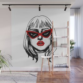 Punk Girl in Sunglasses with Red Lips Wall Mural