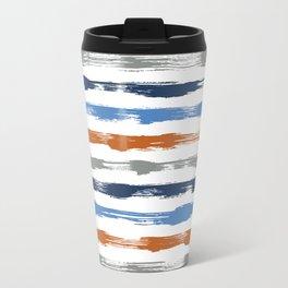 Orange & Blue brush stripes Travel Mug