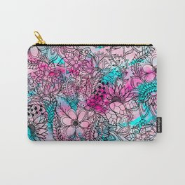 Modern pink turquoise floral watercolor handdrawn pattern Carry-All Pouch