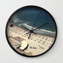 Tel-Aviv beach at summer, high from above, Israel, scaned sx-70 Polaroid Wall Clock