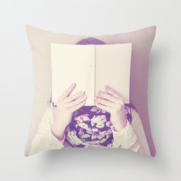lost in the book Throw Pillow