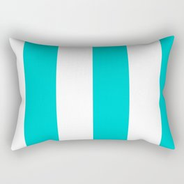 Wide Vertical Stripes - White and Cyan Rectangular Pillow