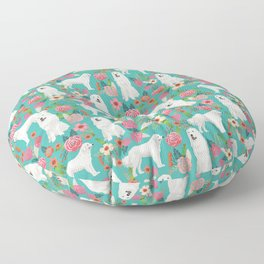Great Pyrenees florals pattern dog breed must have dog lover gifts Floor Pillow
