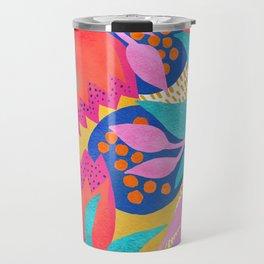 Bold Flower Pattern Yellow Background Travel Mug