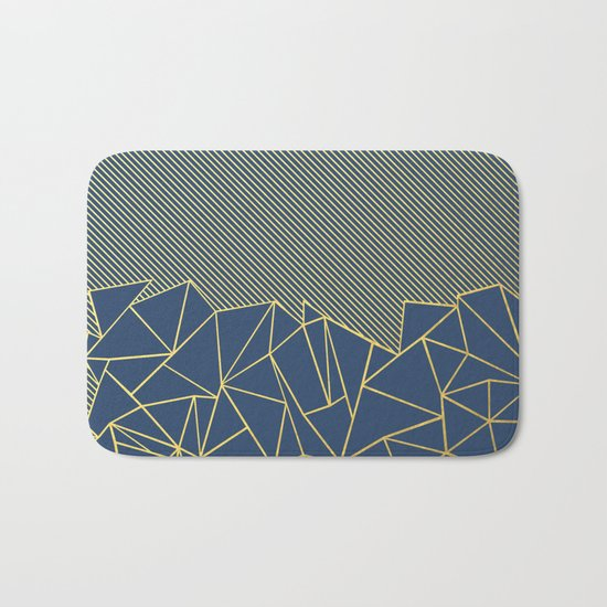 Ab Lines 45 Navy and Gold Bath Mat