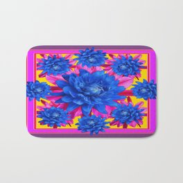 Decorative Puce Fuchsia Color Blue Tropical Flowers Pattern Bath Mat