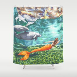 Swimming with Manatees Shower Curtain