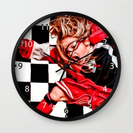 Child Girl Athlete Red Uniform kids soccer Wall Clock