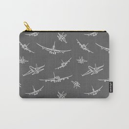 Airplanes on Dark Grey Carry-All Pouch