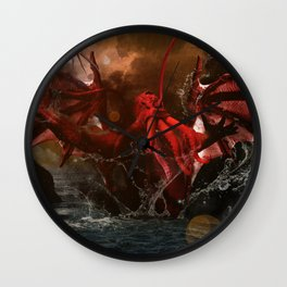 Cthulhu Rises With Shoggoths Wall Clock