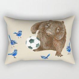 Blue wrens Wombat Football Rectangular Pillow