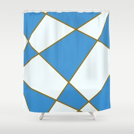 Geometric abstract - blue and brown. Shower Curtain