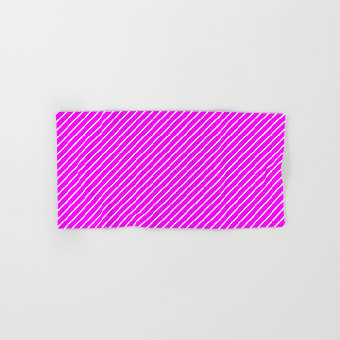 Diagonal Lines (White/Fuchsia) Hand & Bath Towel