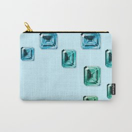 Emerald-cut Gemstones Pattern | Seafoam Carry-All Pouch