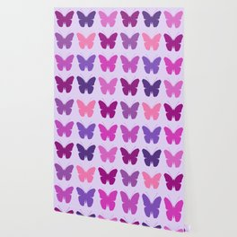 Butterly Silhouettes 3x3 Pinks Purples Mauves Wallpaper