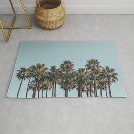 California Beach Vibes // Tropical Palm Trees Dusty Blue Sky Travel Photograph Rug
