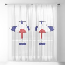 World War 2 Fighter Red White Blue Silhouette Sheer Curtain