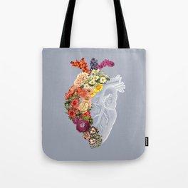 Flower Heart Spring Light Grey Tote Bag