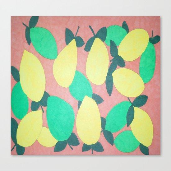 Lemony Fresh Citrus Pattern Canvas Print