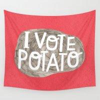 potato Wall Tapestries featuring I VOTE POTATO by Anke Weckmann