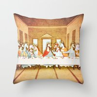 the last unicorn Throw Pillows featuring Last Supper Unicorn by That's So Unicorny