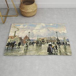 Paul Gustav Fischer - A Scene From Knippelsbro, Bridge In Copenhagen, When The Artist Was A Boy Rug