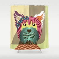 terrier Shower Curtains featuring Yorkshire Terrier by Lanre Studio
