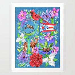 Ohio Collage- Blue Art Print