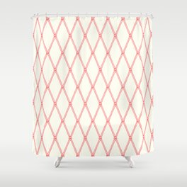 Nautical Fishing Net (Beige and Coral) Shower Curtain