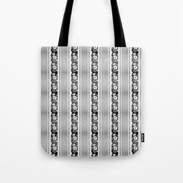 Black And White Hibiscus Honu Stripes Tote Bag