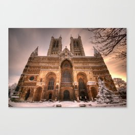 Lincoln Cathedral Snow Canvas Print