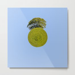 Lonely Oak in Spring Planet Metal Print