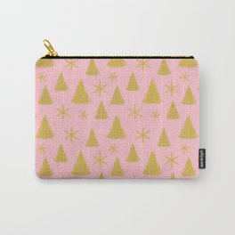 Pink and Gold Christmas Tree Pattern Carry-All Pouch