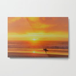 The Love Between a Guy and His Surf Board by Reay of Light Metal Print