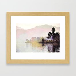 Pines along the Lake in the Mist, Lake District, UK. Watercolor Painting Framed Art Print