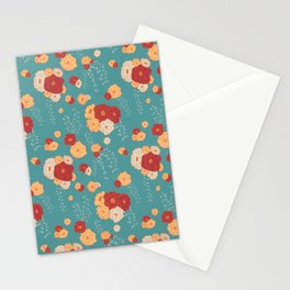 Anemone Floral Bouquets on Blue Stationery Cards