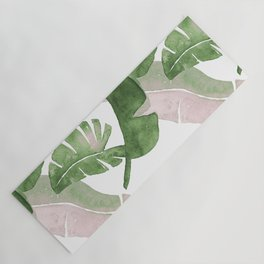 Tropical Leaves Green And Pink Yoga Mat