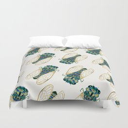 Green & Gold Cicada Duvet Cover