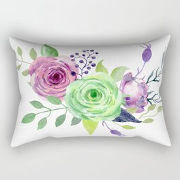 Posy GREEN AND VIOLET Painted - bouquet, nosegay, flower Rectangular Pillow