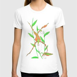 Mountain Lady Slipper Orchid Botanical Art Print T-shirt