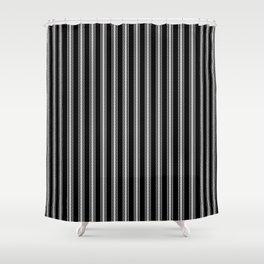Black and White English Rose Trellis on Mattress Ticking Stripe Shower Curtain