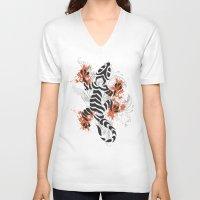 lizard V-neck T-shirts featuring Lizard by Sitchko Igor