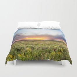 Tallgrass Prairie - Sunset and Bison on the Plains Duvet Cover