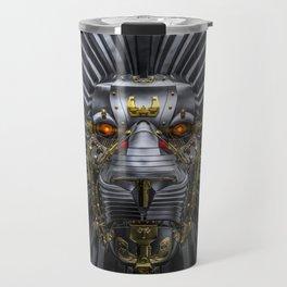Hear Me Roar / 3D render of serious metallic robot lion Travel Mug