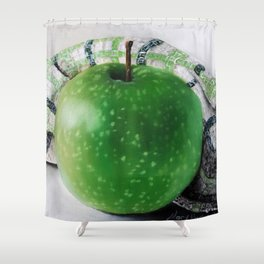Green Apple and Tea Towel III Shower Curtain